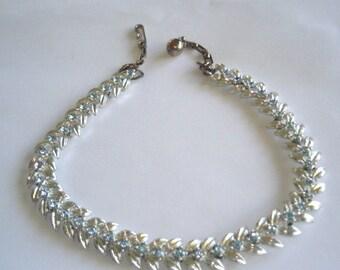 Blue Rhinestone Leaf Necklace Silver  Tone