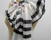 Silk scarf  Plaid Fashionable chic scarf  simple Beige plaid shawl stylish Gift Unisex man scarf