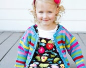 Girls Hand Knit Baby Cardigan -- Childrens Clothing -- Sheridan Street -- Aqua, Red, Pink, Yellow, Lime -- Perfect for Baby Showers