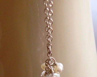 Wire Wrapped Pink Amethyst Briolette Dangle with White Pearl and Crystal Rondelle Cluster Sterling Silver Necklace --Bridal / Weddings