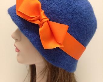 Florida Gator Colors Blue Wool Cloche with Orange Ribbon
