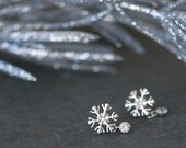 Snowflake earrings, gold stud earrings, winter wedding, bridesmaids gift, winter wonderland wedding jewelry, Tiny snowflake stud