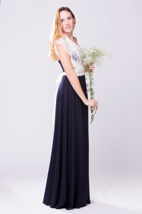Maxi dress navy long lace dress vintage style wedding for Navy maxi dresses for weddings