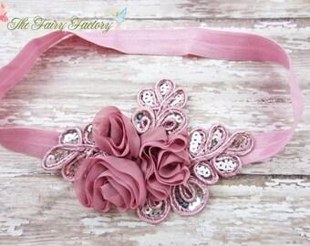 Mauve Flower Headband, Mauve Pink Floral Headband, Silver Sequin Headband, Baby Headband, Flower Girl Headband, Newborn Child Girls Headband