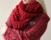 chunky scarf loop scarf infinity scarf circle scarf red infinity scarf hand knit scarf womens red snood scarf knit scarf wool infinity scarf
