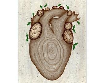 Tree Hugger's Heart. Wood Grain Anatomical Heart Painting Reproduction. 8x10 Wall Art Print. Tree Anatomical Heart. Wooden Heart.