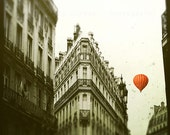 Paris Photography, Landscape, Red Balloon in Paris, print, black and white, French wall art, home decor, nursery, Paris art print, crimson