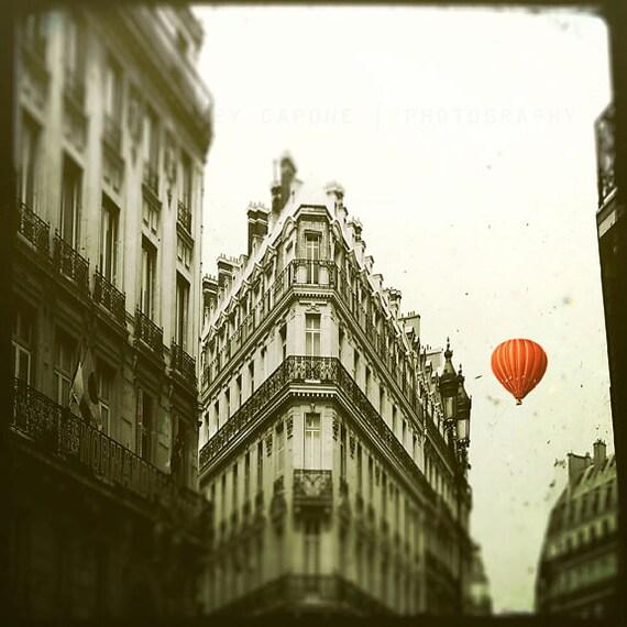 Paris Photography, Landscape, Red Balloon in Paris, print, black and white, French wall art, home decor, nursery, Paris art print