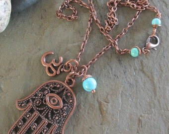 Hamsa ~ Antiqued Copper Charm Necklace with Hamsa & Om charms - Spiritual jewelry, Yoga jewelry