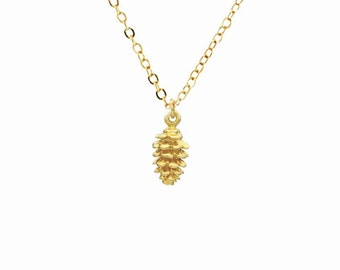 Pine Cone Gold Necklace, Pinecone 24K Gold Plated Bronze Necklace, Bridesmaid Jewelry, Minimal Layering Necklace, Woodland Gift Idea For Her