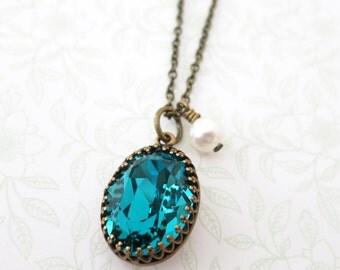 Vintage style Indicolite Blue Oval Swarovski Crystal brass necklace,  dainty vintage bridesmaid necklace, rustic countryside wedding bridal