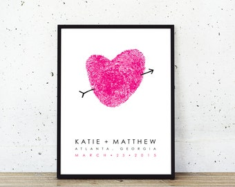 Custom Guest Book Sign In Wedding Guestbook Alternative Poster with Unique Fingerprint Heart custom made with Your Fingerprints Canvas