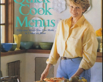 Martha Stewart's Quick Cook Meals, 1988, Vintage Cookbook, Recipes, Quick Meals, Fast Meals, Easy Meals, Menus, Entertaining, Illustrated