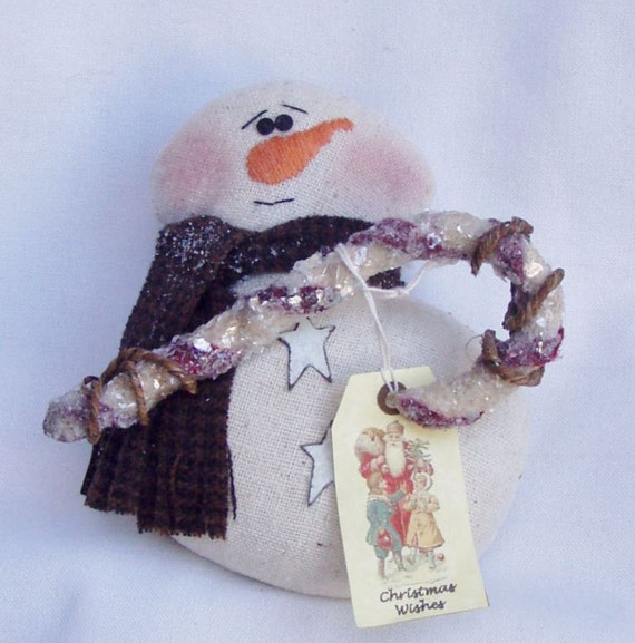 Snowman Primitive Ornament Decoration with Candy Cane and Vintage Tag