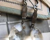 Elegant Vintage Crystal Assemblage Earrings –delicate, simple, small dangle, chandelier crystal