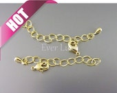 10 sets of gold plated 2 inch extender chains with a clasp, includes 10 clasps and 10 extender chain, necklace extender chain B017-BG