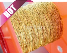 Best selling item / 1 meter 1.3mm x 0.9mm Gold plated flat cable chains, fine chains for jewelry making, supplies B006-BG (bright gold, 1M)