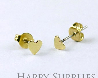 10Pcs (5 pairs) Nickel Free - High Quality 5 mm Raw Brass Heart  Earring Posts Findings with Ear Studs Back Stoppers (ZE156)