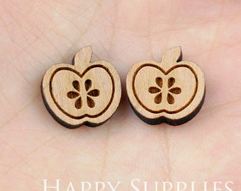 4pcs (SWC28) DIY Laser Cut Wooden Apple Charms