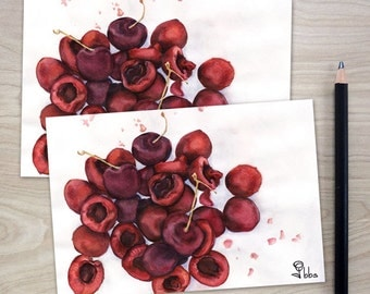 cherry cards, red cherries note card set, art print stationery,  blank watercolor cards