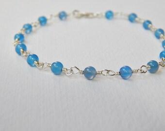 Blue Chalcedony Bracelet - Sterling Silver Beaded Rosary Bracelet Beadwork Bracelet Rosary Chain