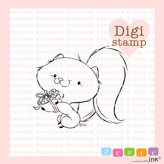 Squirrel Present Digital Stamp for Card Making