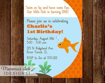 Birthday Invitation, Goldfish BIrthday Invitation, Goldfish Birthday Party, Fish Invitation, Kids Party, Fishbowl Invitation, DIY Printable