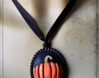pumpkin - pendant - wearable art, handsculpted,  handpainted, harvest, thanks giving, creepy, halloween, horror,