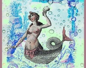 antique french mermaid coral and seahells illustration digital download