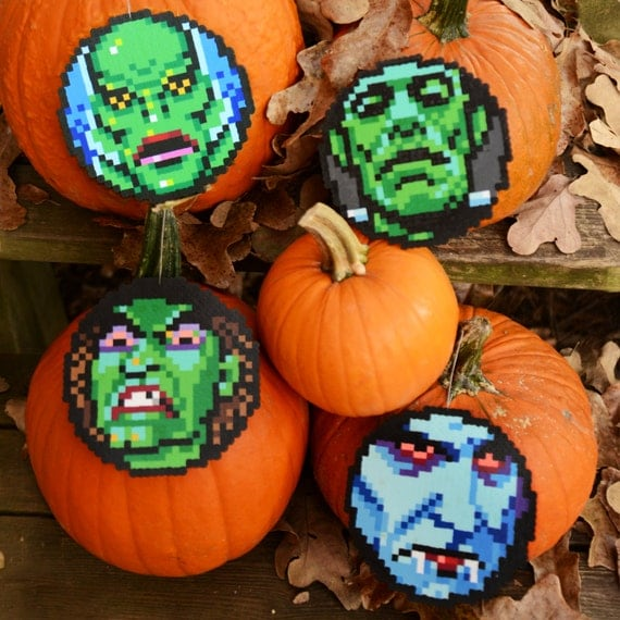 8-Bit Perler Bead Halloween Ornaments