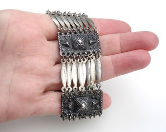 Vintage Sterling Silver Ethnic Bracelet - Mexico/ Mid Century