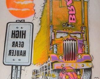 High Gear Hauler Vintage 1970s Keep on Truckin ROACH 1973  T Shirt Transfer UNUSED