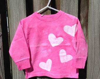 Pink Hearts Shirt, Pink Girls Shirt, Batik Kids Shirt, Long Sleeve Kids Shirt, Kids Heart Shirt, Valentine's Day Shirt (2T)