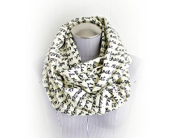 Book Page French Poem Print Flannel Infinity Scarf in Black and Cream