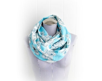 Light Blue Floral Flannel Infinity Scarf, Flowers and Leaves