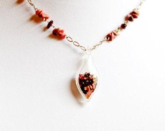 Garnet Glass Drop Necklace