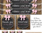 Complete Etsy Banner Set - Ribbons and Bows - Simple & Custom! Facebook Timeline Cover and Business Cards Available Too!