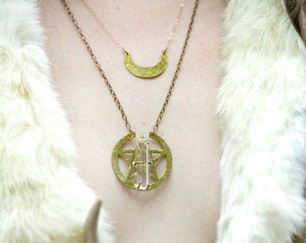 NEW Crescent Moon and Rose Gold Filled Necklace, half moon pendant, moon necklace, Made in CA.