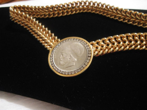 Vintage Les Bernard Gold Coin Link Chain Rhinestone Necklace