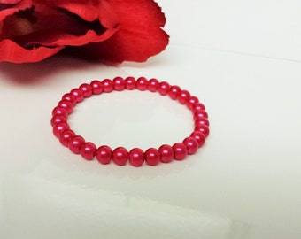 Passion Pink 6mm Glass Pearl Bracelet for Bridesmaid, Flower Girl or Prom