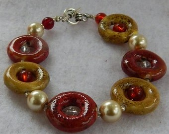 Red and Yellow Ceramic Circle Bracelet Jewelry Handmade NEW Fashion Accessories
