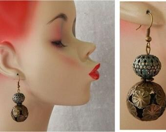 Gold Filigree Drop/Dangle Earrings Handmade Jewelry Alloy Hook Metal Accessories Fashion Blue