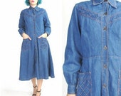 50% OFF SALE 70s Denim Dress Western Denim Dress Full Skirt Shirt Dress Chambray Dress Blue Jean Collared Button Down Front Cotton Dress (M)