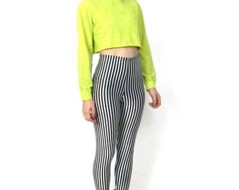 90s Champion Sporty Long Sleeve Crop Top Highlighter Yellow Tshirt Neon Minimalist Club Kid Tee (M)