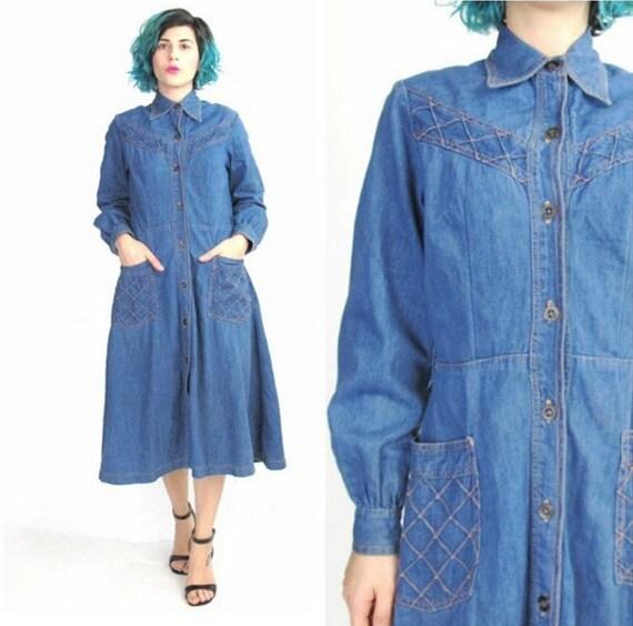 30% OFF SALE 70s Denim Dress Western Denim Dress Full Skirt