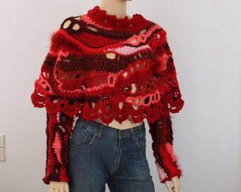 Crochet Poncho Gypsy Hippie Chunky Pink Red Freeform Crochet Poncho Cape Shawl  with Arm Warmers - Winter Accessories - Boho Chic - OOAK