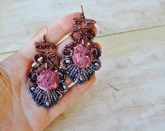 Winter Romance-Bohemian Hand Beaded Earrings/Lightweight romantic earrings/Gift idea/ Hand made jewelry