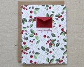 Set of 8 Holiday Cards Gift Box Set - Winter Berries