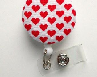 Red and White Hearts Fabric Button - RN Badge Holder - Valentine Badge Reel - Nurses Badge Holder - Cardiac Badge - Teacher Badge