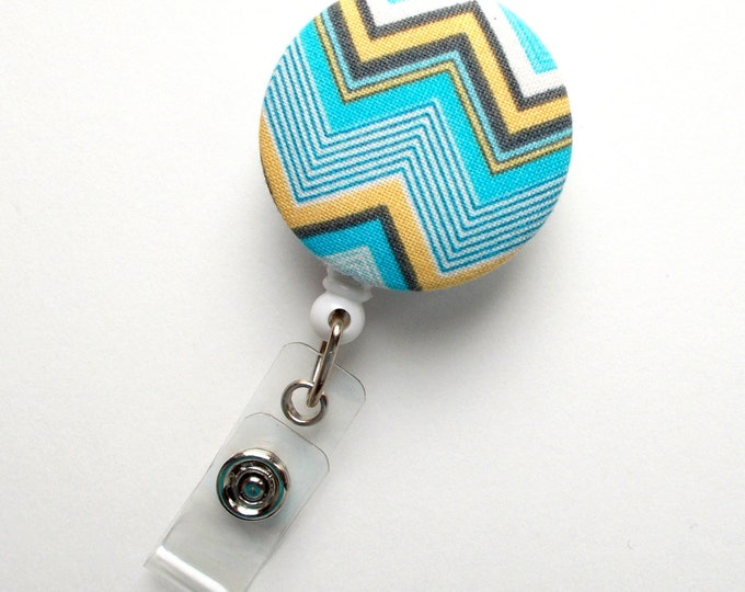 Light Blue and Yellow Chevron - Nurse Badge Holder - Nursing Badge Reel - Retractable ID Badge Reel - Teacher Badge - Male Badge Reel - RN